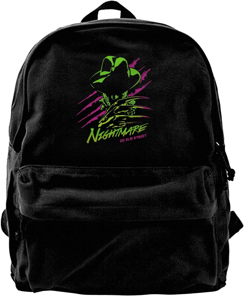 A Nightmare On Elm Street Canvas Backpack Lightweight Travel Daypack Student Rucksack Laptop Backpack.