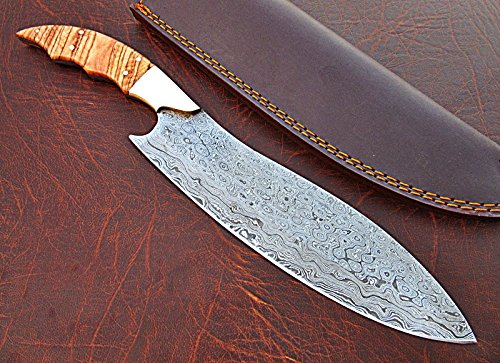 galleon cfz 1140 custom handmade damascus steel inches chef knife beautiful burrel. Black Bedroom Furniture Sets. Home Design Ideas