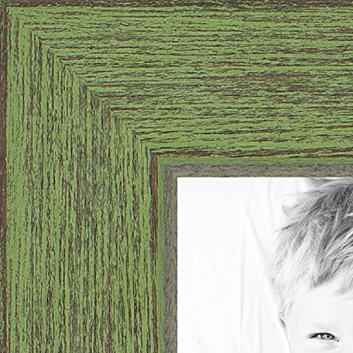ArtToFrames 16x20 inch Jade Rustic Barnwood Wood Picture Frame, - Wood Green Grain