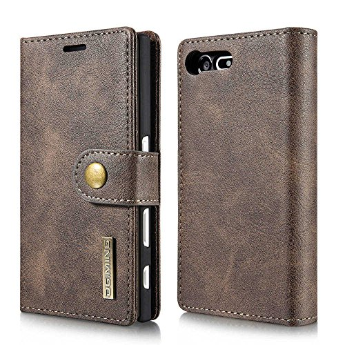 DG.MING Magnetic Detachable 2 in 1 Vintage Genuine Cowhide Leather Folio Flip Wallet Cases Removable Retro 3 Card Slots Phone Back Cover for Sony Xperia X Compact (Grey)