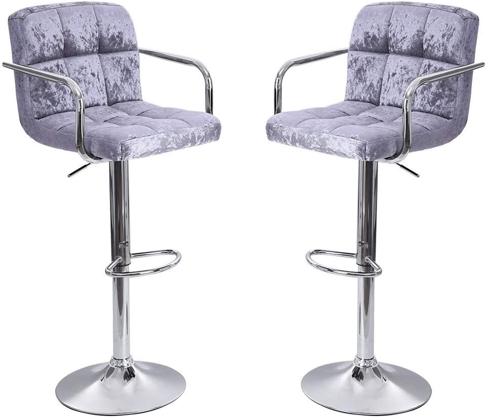Mostbest Set of 2 Flannel Adjustable Bar Stools, Swivel Barstool Chairs with Back, Pub Kitchen Counter Height Silver