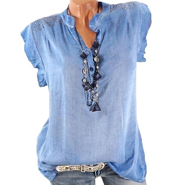 Keephen Collar de Cuello Blusa de Verano con Forma de Diamante Camisa de Chifón sin Mangas