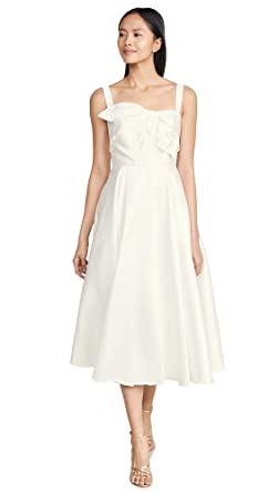 70ac97de46 Marchesa Notte Women's Tea Length Gown with Draped Bodice, Ivory, White, Off  White