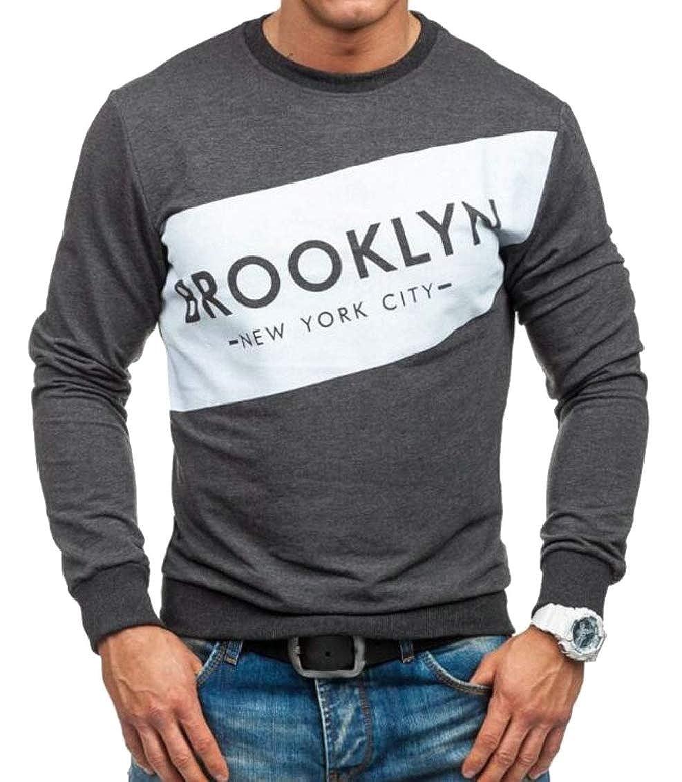 Yayu Men Crew Neck Long Sleeve Letter Print Blouse Pullover Sweatshirts