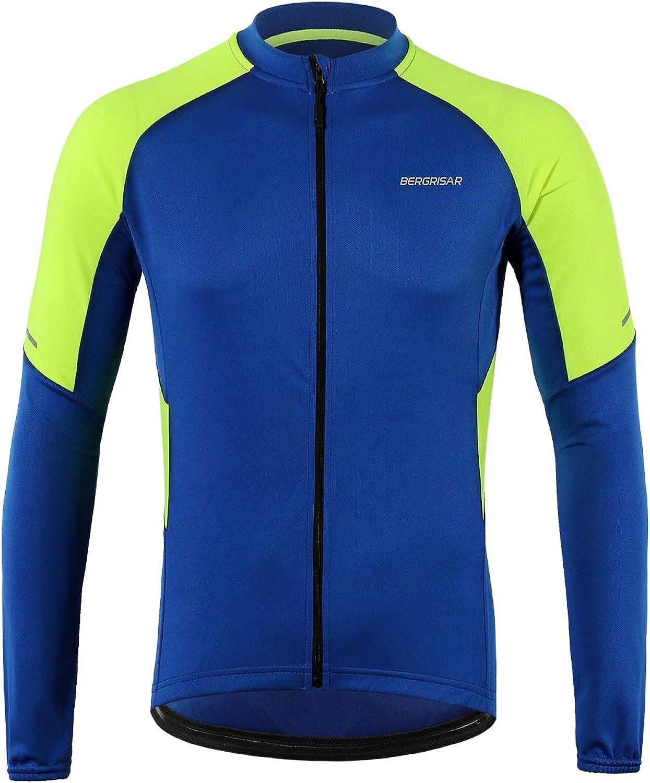 BERGRISAR Men's Basic Cycling Jerseys Long Sleeves Bike Bicycle Shirt Zipper Pockets BG012: Clothing