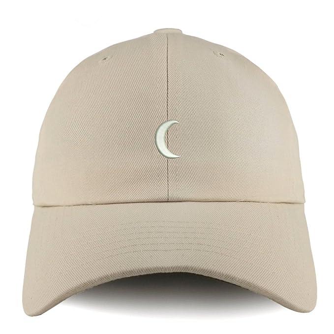 0ed4017172d Trendy Apparel Shop Crescent Moon Embroidered Low Profile Soft Cotton Dad Hat  Cap - Beige