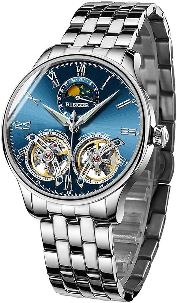 B BINGER Men's Automatic Mechanical Wrist Watch with Dual Balance Wheels Movement