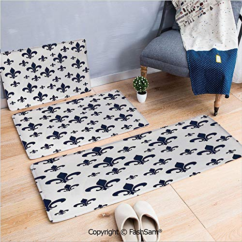 FashSam 3 Piece Flannel Bath Carpet Non Slip Various Sized Classic Fleur de Lis Patterns Royal Retro Style Antique Decor Living Front Door Mats Rugs for Home(W15.7xL23.6 by W19.6xL31.5 by W17.7xL53) ()