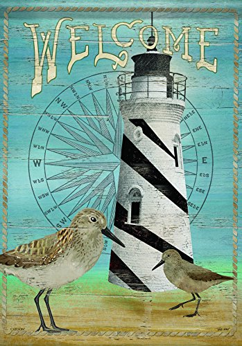 Carson Home Accents Flagtrends Classic Garden Flag, Welcome Sandpiper Lighthouse