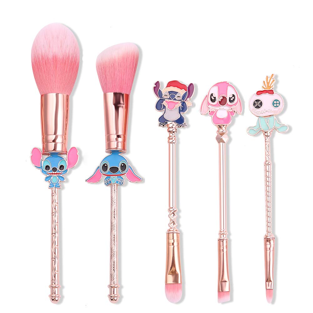 Interstellar Baby Makeup Brushes Set - 5Pcs Creative Stitch Theme Cosmetic Brushes Set, Premium Synthetic Foundation Eyeshades Brush Set Best Gift for Young Girl Women
