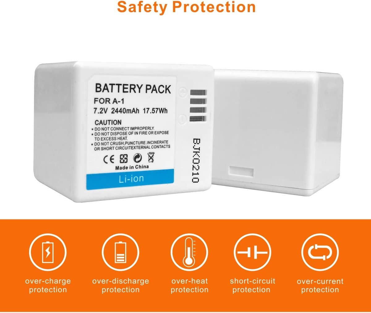 2-Pack Lekzai 7.2V 2440mAh Rechargeable Batteries with Dual Charging Station for Arlo Pro,Arlo Pro 2