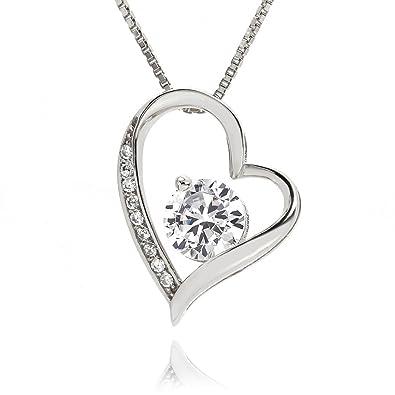 979f7ea84 Amazon.com: lapisia Swarovski Zirconia Open Heart Pendant Necklace for  Women Stering Silver with Present Gift Box Hot-selling in Japan (Platinum):  Jewelry