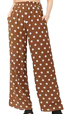 39cd3e1e0554 M&S&W Women High Waisted Polka Dot Stylish Casual Loose Wide Leg Pants Pants  Coffee XS
