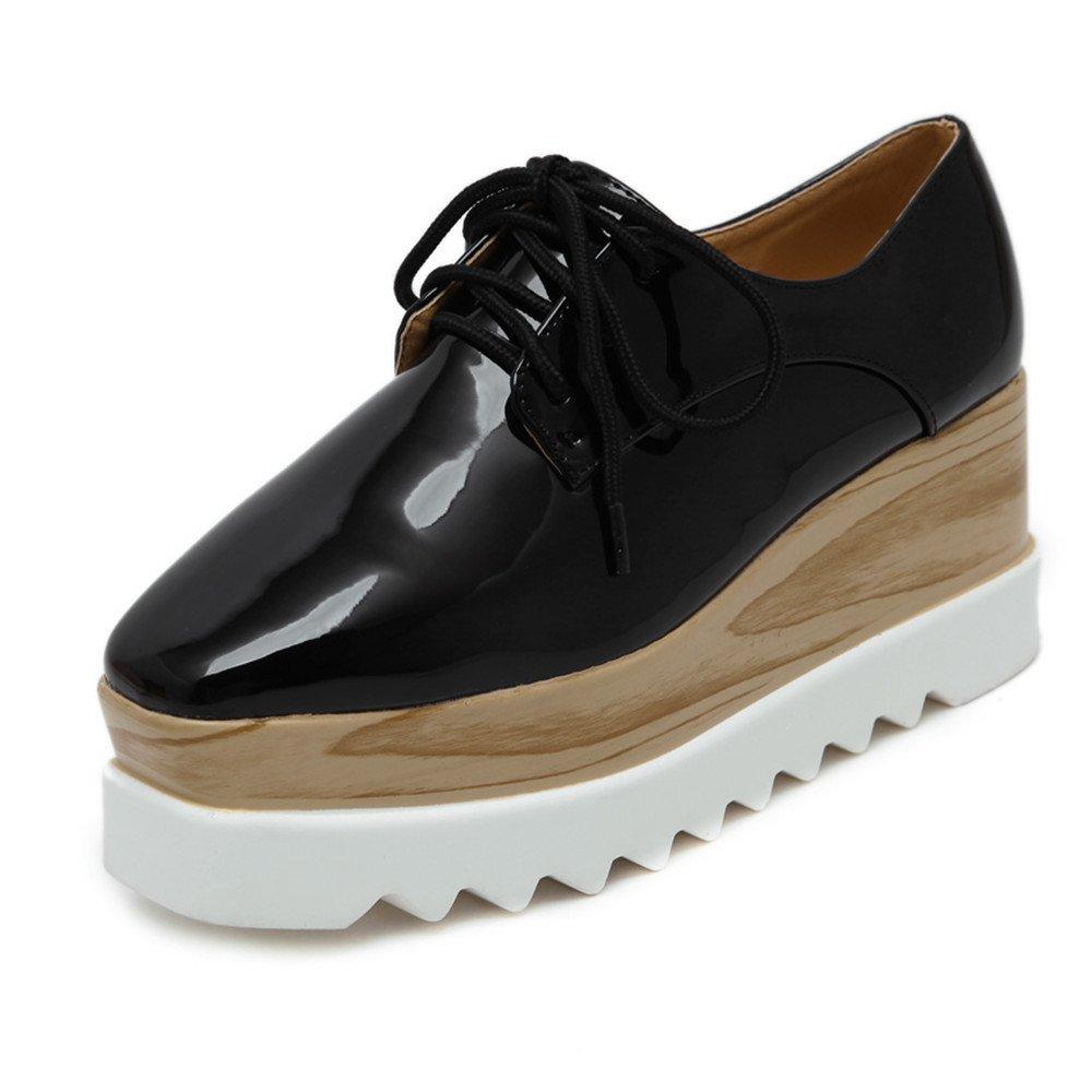Tengyu Women's Platform Wedges Oxfords Classic Casual Lace Up Mid Heels Wingtips Square Toe Shoes (US7.5=EU39=24.3CM, Black)