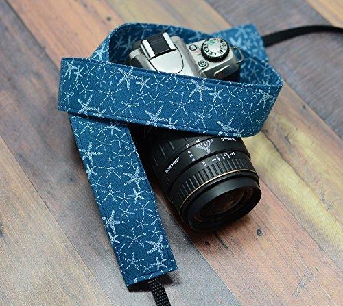 white-starfish-on-navy-blue-dslr-camera-strap