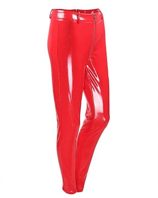 5b0ab5629c Donna Pantaloni Pelle Eleganti alla Moda Vernice Leggins Elastico ...