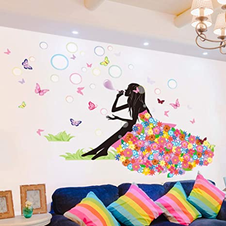 3D Fairy Blowing Star Mirror Effect Wall Stickers Art Decals Home Decor ONE