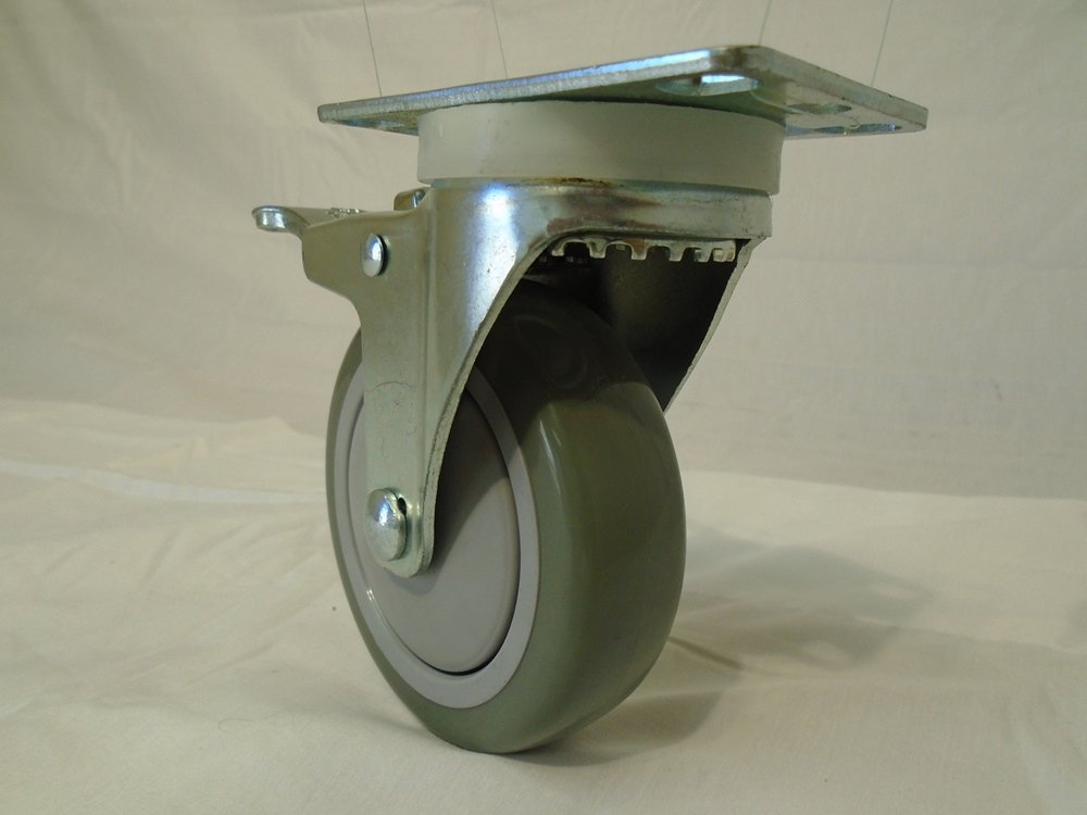 4'' X 1-1/4'' Swivel Caster Gray Polyurethane Wheel with Brake 400 Lbs Each (2) and Rigid(2) Tool Box by Creative Industrial Sales (Image #2)