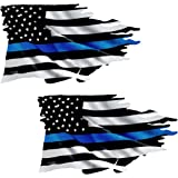 Thin Blue Line Tattered Flag Sticker 2 Pack #FS299 LAMINATED Police USA Vinyl Decal Lives Matter Car Truck Bumper Winshield Design