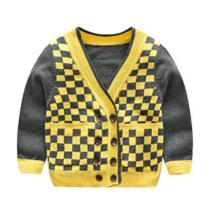 463b2d68a7ae9 Boy s Grid Cardigan V-Neck Pullover Long Sleeve Buttons Outfit Clothes for  Kids Little Boys (Color   Yellow