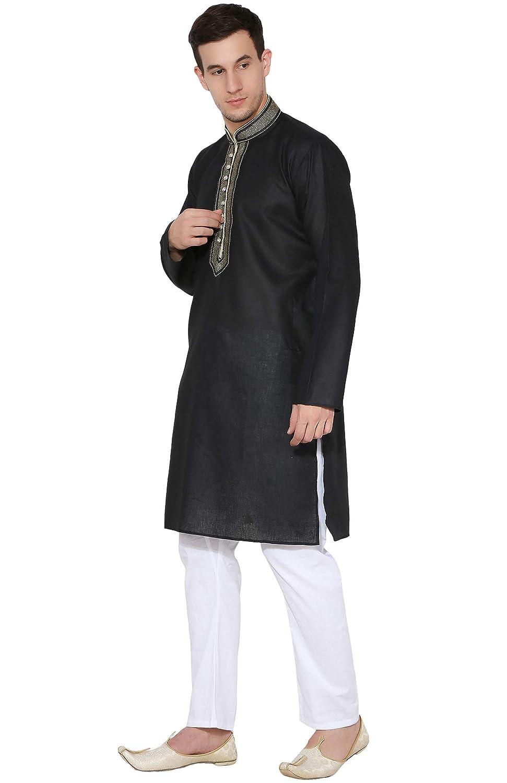 b691a8cc49 Mens Kurta Pajama Indian Ethnic Bollywood Long Sleeve Cotton Shirt Pyjama  Casual Wedding Dress -XL Black  Amazon.ca  Clothing   Accessories
