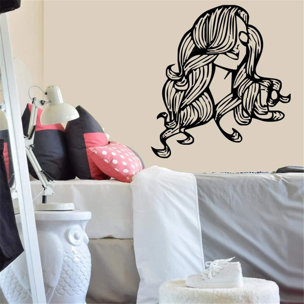 Etiqueta de la pared Vinyl Salon Girl Sticker Hermosa Chica con ...