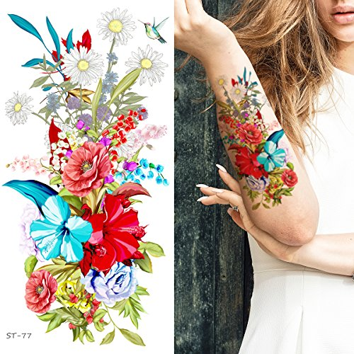 Supperb Temporary Tattoos – Hand drawn Colorful Summer Flower Bouquet II (Set of 2)