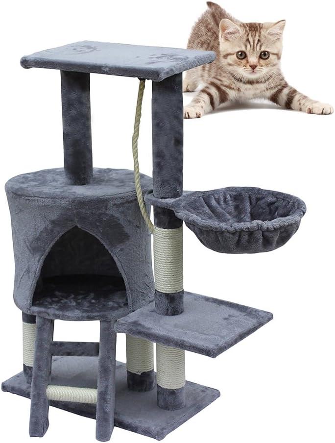 Keinode Árbol de gato torre gato gatito rascador poste árbol cama centro de actividad escalada juguete 2 conos para descansar y repetición 2 escaleras 3 plataformas de visión redondas 2 juguetes de