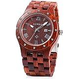 Bewell W109A Men Wooden Quartz Watch Round Dial Analog Handmade Wood Wristwatch