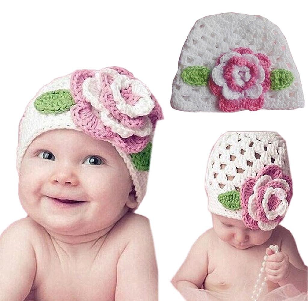 Tenworld Cute Kids Infant Toddler Girl Warm Big Flower Baby Beanie Knit Hat Cap Tenworld-hat