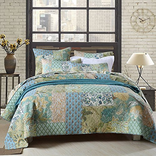 Floral Patchwork Cotton Quilt Coverlet Set King Flower Print Girls Quilt Bedspread Set Luxury Reversible Quilt Set 3 Piece King Size Quilt Set for Kids Teens Adults with 2 Pillowcases, Style2