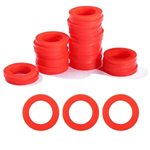 "Litorange 30 PCS Outdoor Garden Hose Washer Gasket Combo Pack Red. Made from Soft Silicone (Not Rubber, Better Sealing Than Rubber),Used for Faucets 3/4"" Fittings Washing Machine Hot Water."