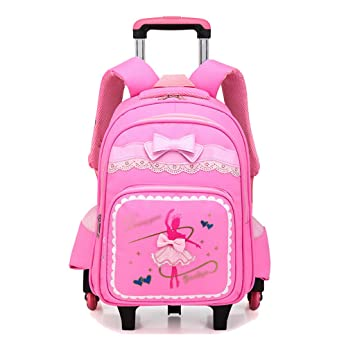 OPmeA Mochila Chica Imprimir Roller Trolley School Bag Pupils Niño niña Trolley Bag Cute Butterfly Student Bag (Color : Pink, Tamaño : Six Rounds): ...