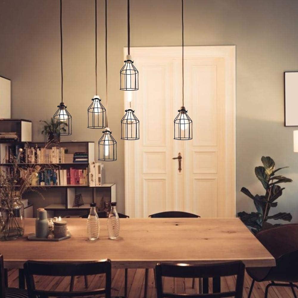 wisedwell Lampenschirme f/ür Kronleuchter E27 E26 Schwarz industrieller Weinlesestil Lampenk/äfig Lampenschutz Einstellbar f/ür Pendelleuchten
