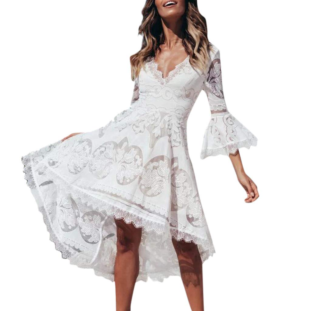 Women's V Neck Lace Stitching Flare Sleeve Brief Solid Color Half Sleeve Beach Swallowtail Dress White