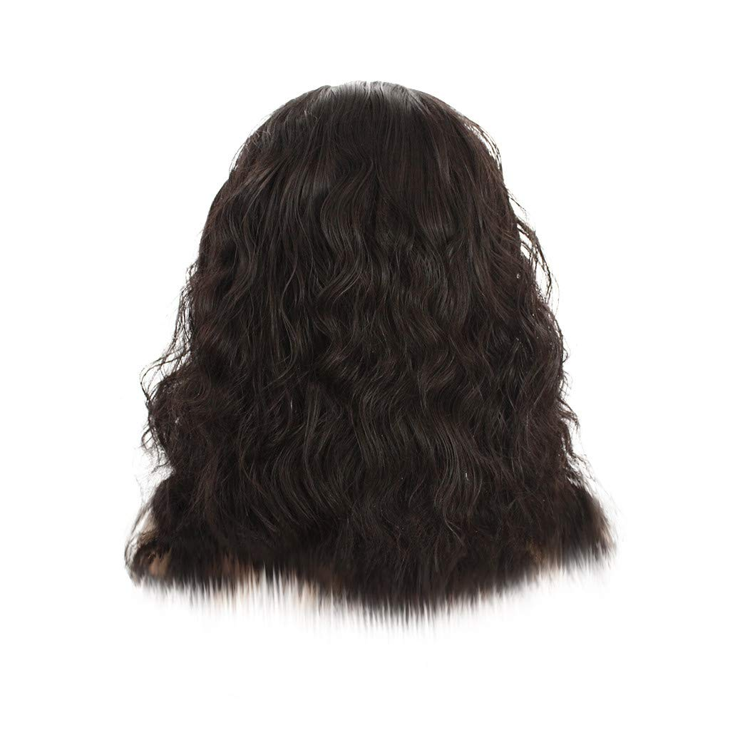 FILOL Curly Wigs, Black Deep Wave Lace Long Wavy Resistant Synthetic Wigs Hair Cosplay Daily Party Anime Hair Wig High Temperature Fiber (L)