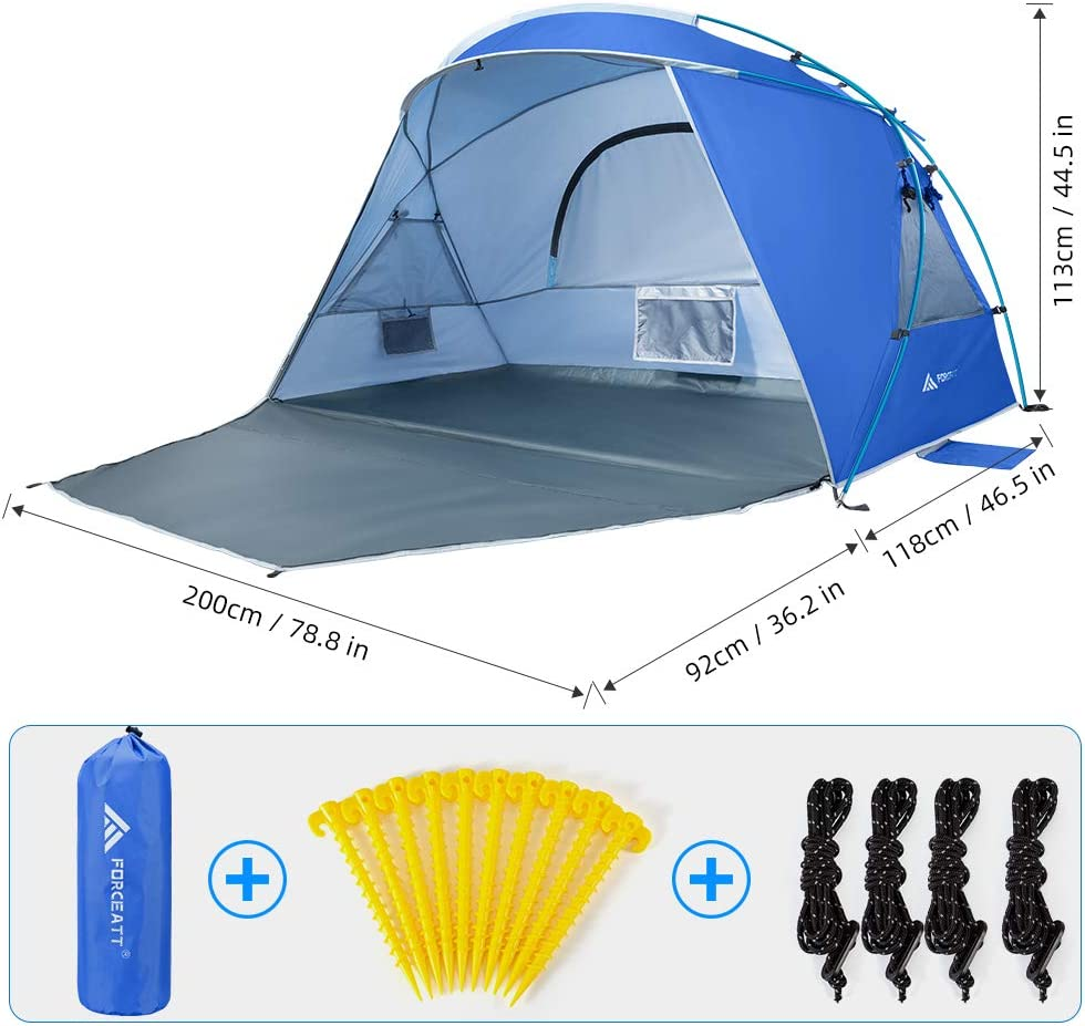 Light and Easy to Carry Seaside Vacation Beach Camping is The First Choice. Forceatt 2 and 3 People Beach Camping Shade Tent,Sunscreen UPF50 + Simple Installation