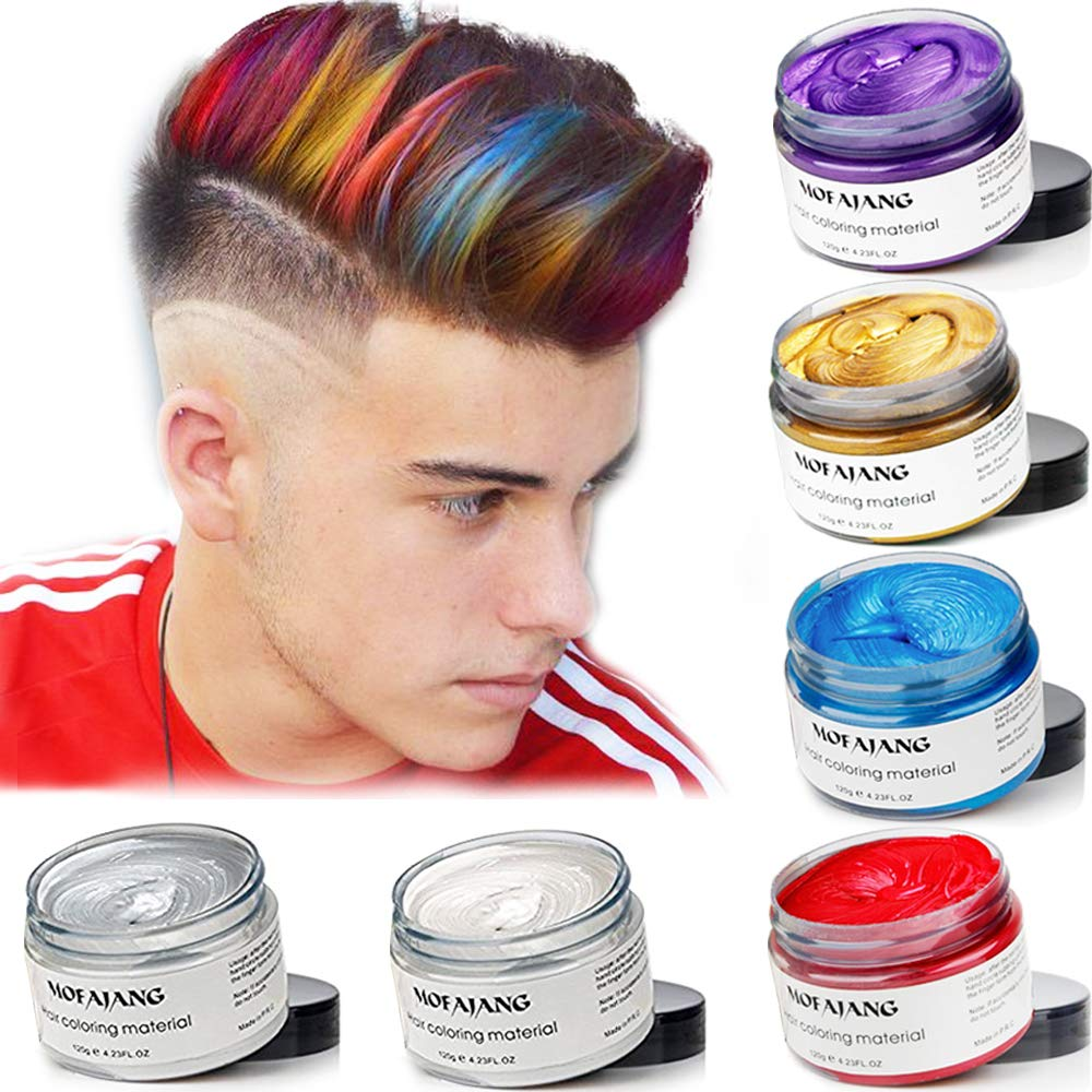 MOFAJANG 6 Colors Temporary Hair Dye Wax - 6 in 1 White Sliver Blue Purple Red Gold - Natural Matte Hairstyle Fashion DIY Hair for Party, Cosplay by VOLLUCK