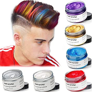 Mofajang 6 Colors Temporary Hair Dye Wax 6 In 1 White Sliver Blue Purple Red Gold Natural Matte Hairstyle Fashion Diy Hair For Party Cosplay