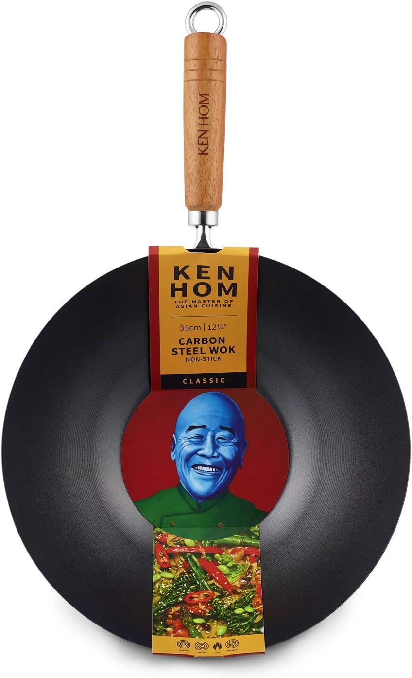 Ken Hom WKH331001 KH331001 Wok de Acero al Carbono, Color Negro