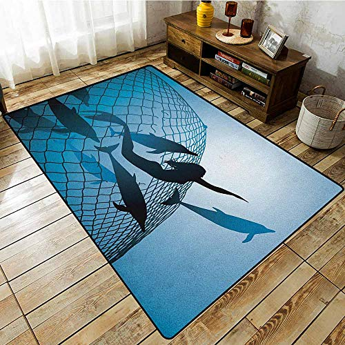 - Kids Rug,Underwater,A Mermaid Rescues Flight of Dolphins from a Fishing Net Freedom Diver Artwork Print,Ideal Gift for Children,5'10