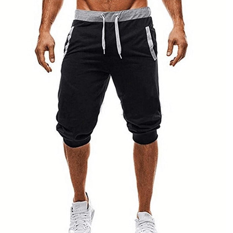 PHOTNO Training Trousers Men Sport Sweat Pants Shorts Harem Dance Baggy Jogging Pants (XL, Black - A)