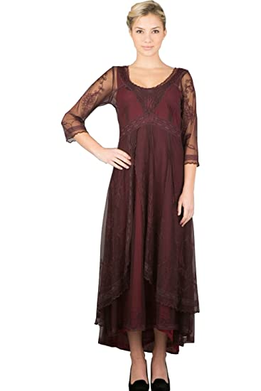 7d0542486ae6 Fenghuavip 3/4 Sleeve Burgundy Lace Bridal Mother Dress Hi-lo Maxi Length (