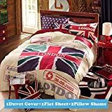 Ttmall Twin Full Size 100% Cotton Red White Lavender Green the Union Jack London Bedding Sets Duvet Cover Sets (Full , 4pcs Without Comforter)