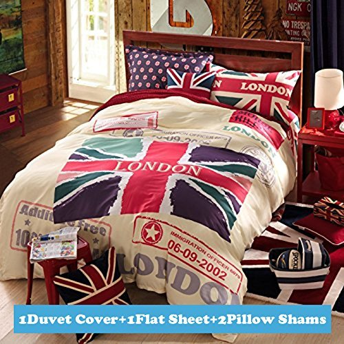 Ttmall Twin Full Size 100% Cotton Red White Lavender Green the Union Jack London Bedding Sets Duvet Cover Sets (Full , 4pcs Without Comforter) (Union Jack Bedding Twin compare prices)