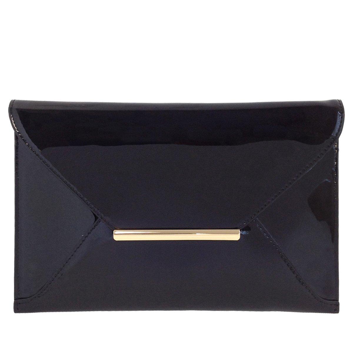 Faux Patent Leather Envelope Candy Clutch Bag, Black