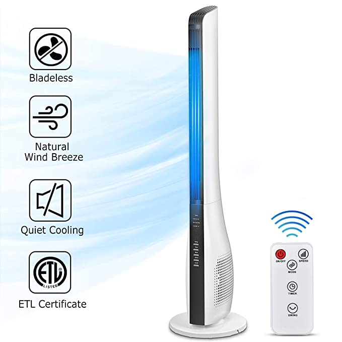 Tower Fan, 43 Inch Bladeless Oscillating Fan with Remote Control,Quiet Cooling, up to 7.5 Hour Buit-in Timer, 3 Speed, 3 Wind Mode, Whole Room Tower Fan for Bedrooms, Living Rooms, Kitchen, Office