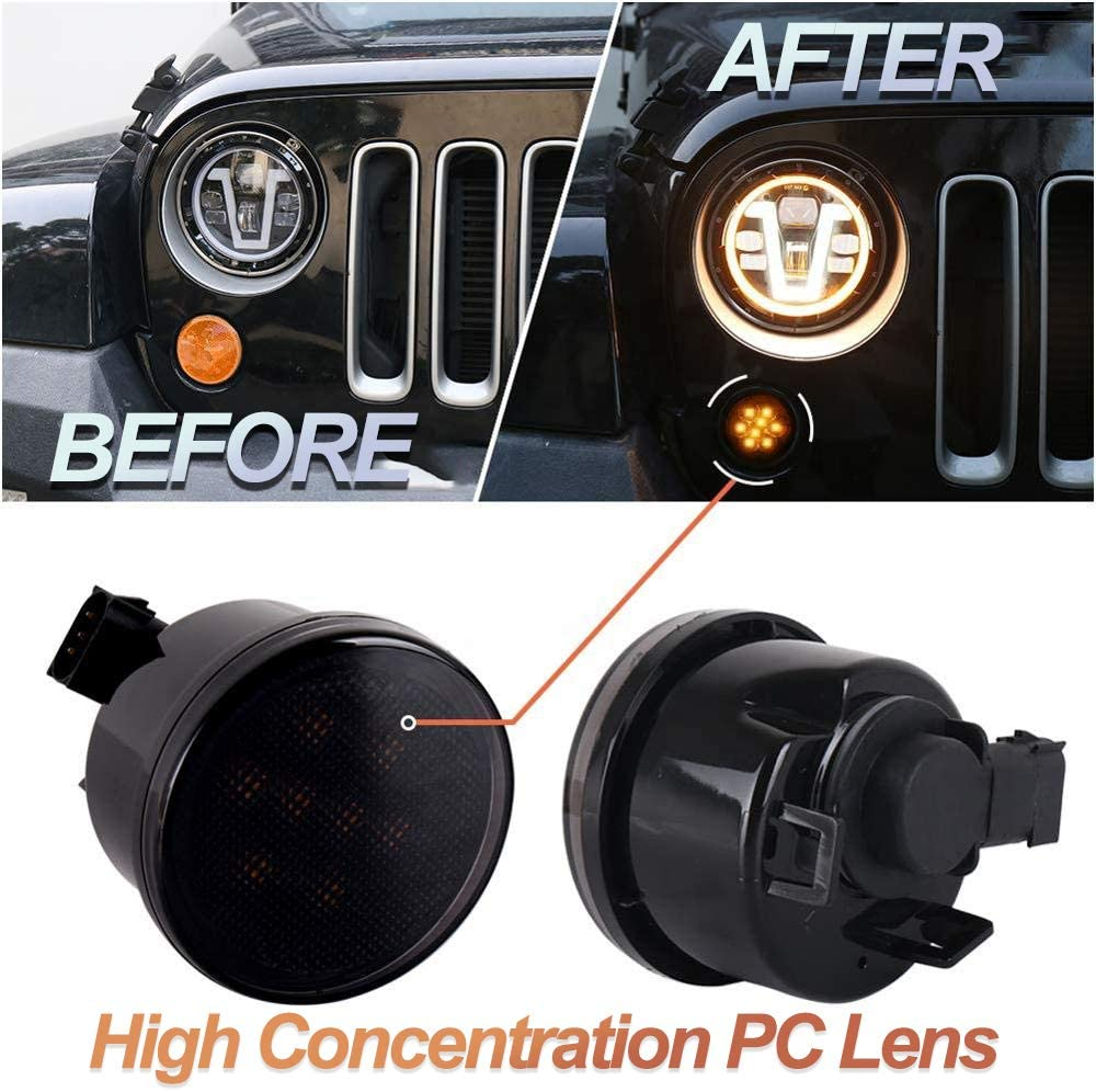 Jeep Amber LED Front Grill Turn Signal Lights Jeep JK Signal Light with Smoke Lens for 2007-2017 Jeep Wrangler JK JKU Accessories