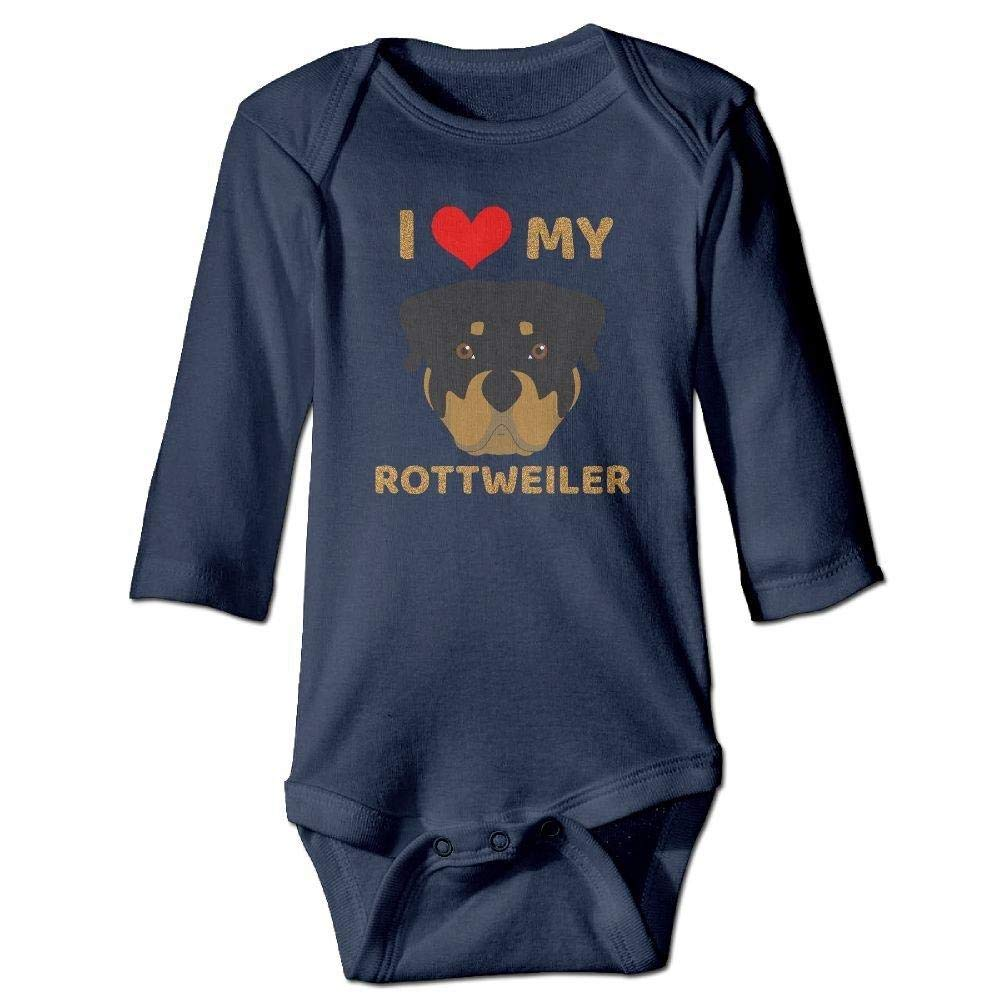 Baby I Love My Rottweiler Long Sleeve Romper Onesie Bodysuit Jumpsuit
