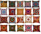 20 Pcs Indian Suzani Cushion, Bohemian Pillow Cases, 16x16 Throw Pillows, Pom Pom Cushion Cover, Decorative Embroidered Pillow Shams (20)